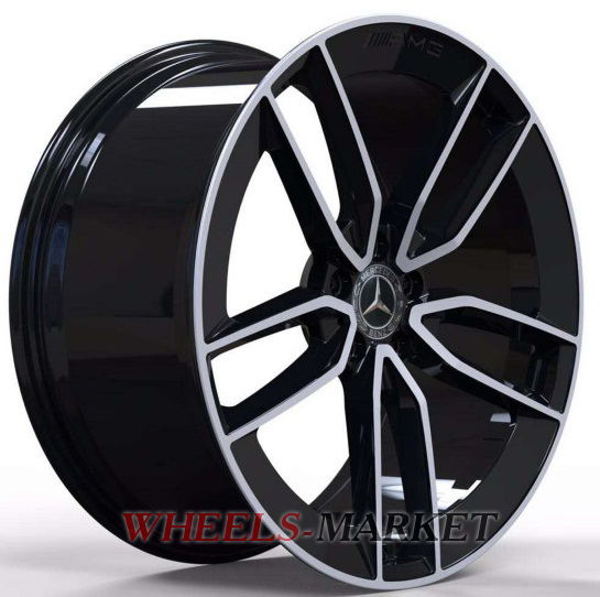 Replica Forged MR399B 11.5x23/5x112 D66.6 ET47 GLOSS-BLACK-WITH-MACHINED-FACE_FORGED